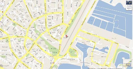 Местоположение аэропорта на карте города