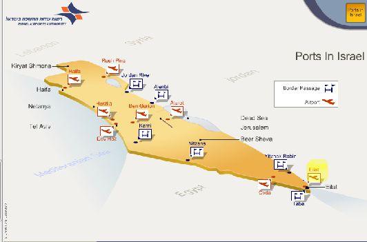 Общая карта аэропортов Израиля, Эйлат занимает самую южную точку