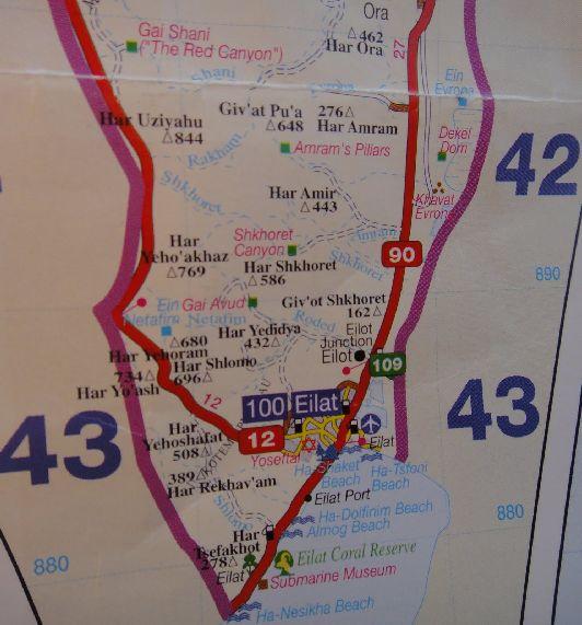 Карта дорог Эйлата на границе с Египтом