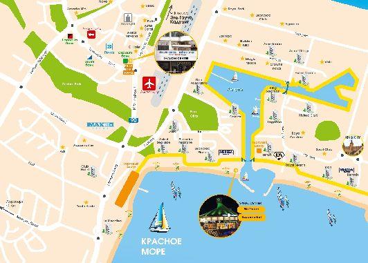 Карта отелей и развлекательных заведений Эйлата