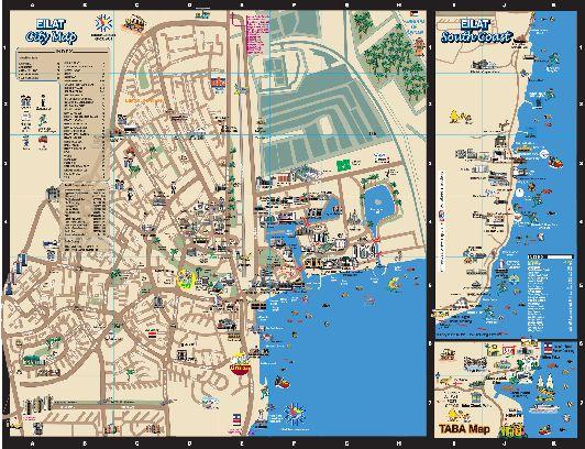 Подробная, большая туристическая карта Эйлата