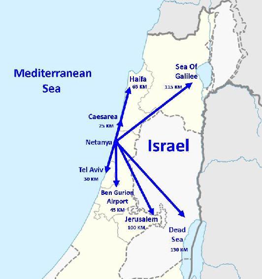 Удалённость Нетании от других средиземноморских курортов Израиля