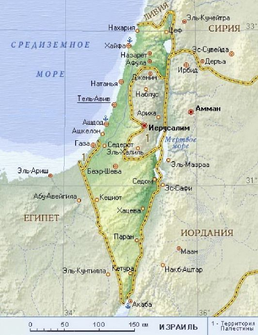 Карта Израиля с отмеченными на ней Иерусалимом и другими городами страны 2
