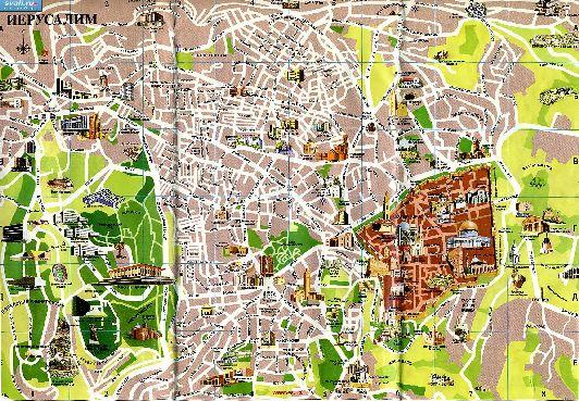 Большая карта Иерусалима с достопримечательностями на русском языке