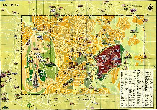 Большая карта Иерусалима с достопримечательностями