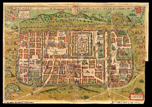 Карта Иерусалима, датированного 1200 г.
