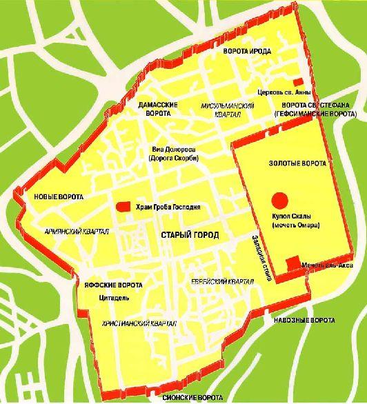 План Старого города на русском языке