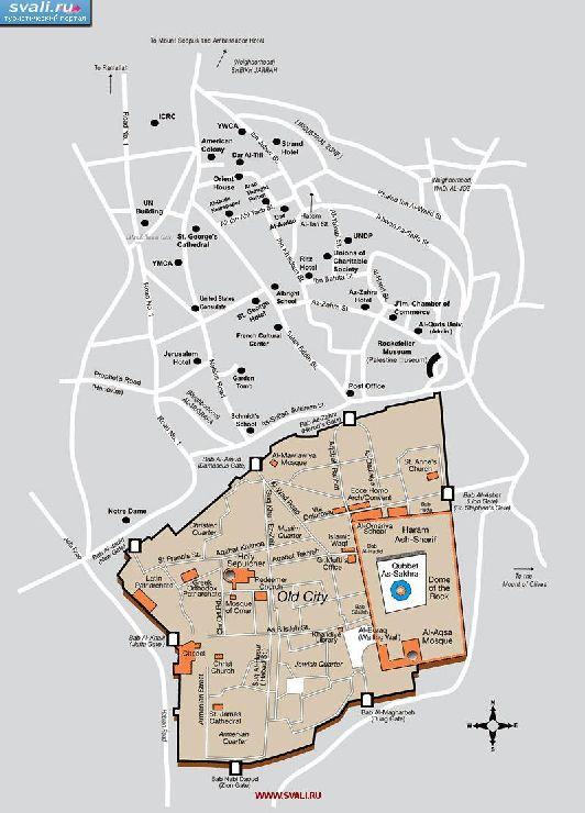 Расположение Старого города на карте Иерусалима