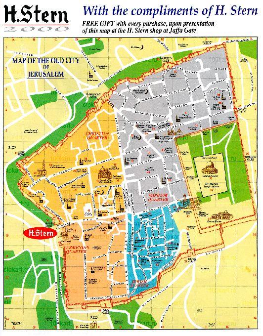 Карта Старого города Иерусалима на английском языке