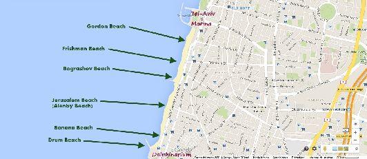 Пляжи Тель-Авива на карте 1