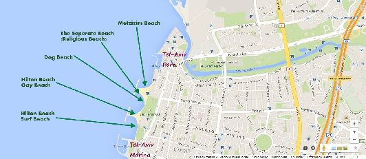 Пляжи Тель-Авива на карте 2