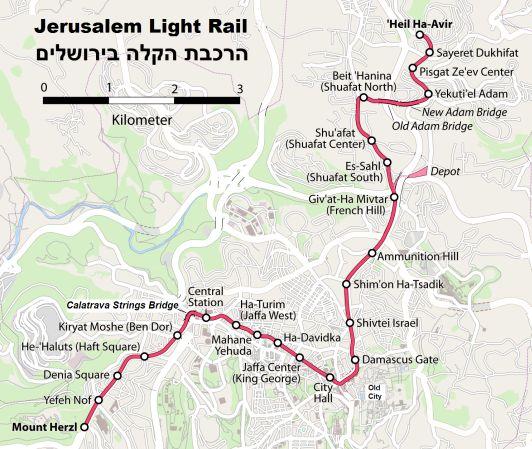Трамвай в Иерусалиме имеет всего 23 остановки
